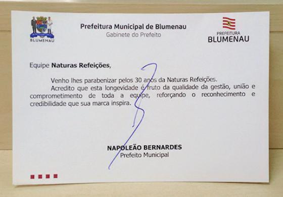 Naturas Refeições recebe reconhecimento do Prefeito de Blumenau/SC